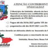 ATENÇÃO CONTRIBUINTES DE UNISTALDA